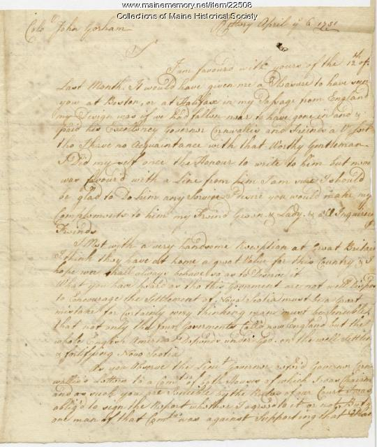 William Pepperrell letter about Louisbourg, 1751