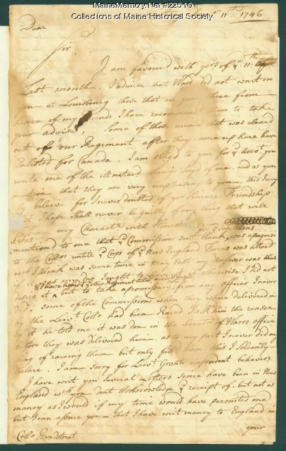 William Pepperrell to John Bradstreet, 1746