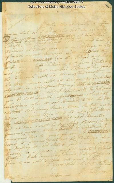 Pepperrell letter concerning ship damages, 1747