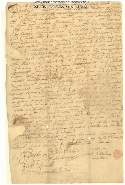 William Pepperrell receipt for purchase of slave, 1718