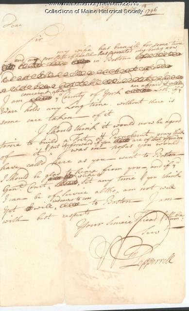 William Pepperrell letter urging Maine fort, 1746