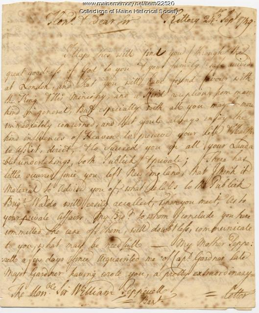 Letter to William Pepperrell in London, 1749