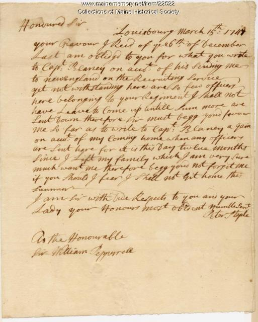 Soldier's request for relief, 1747