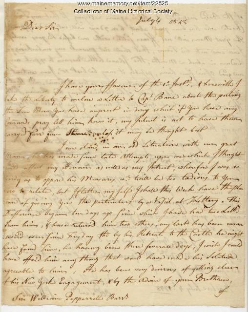 Samuel Waldo letter to William Pepperrell, 1748