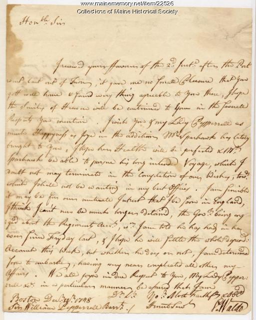Samuel Waldo to William Pepperrell, 1748