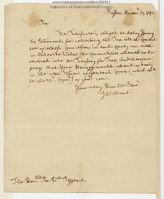 Josiah Willard on tax collection, 1752
