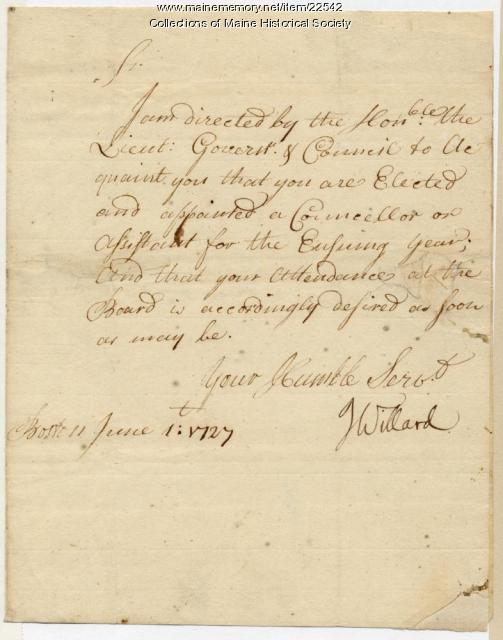 Pepperrell appointment to colonial Council, 1727