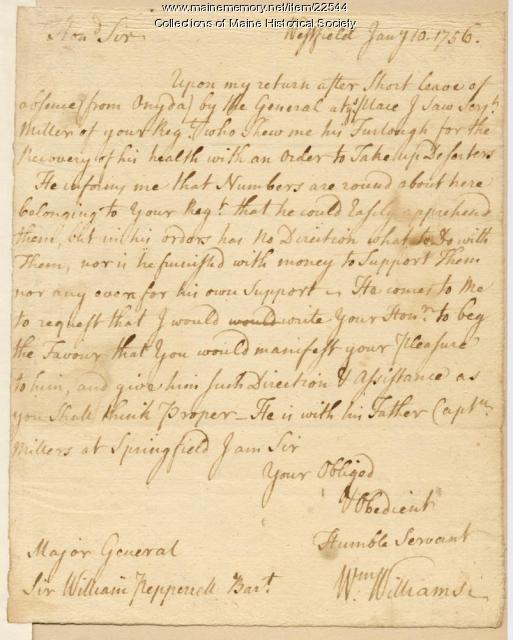 Letter concerning deserters, 1756