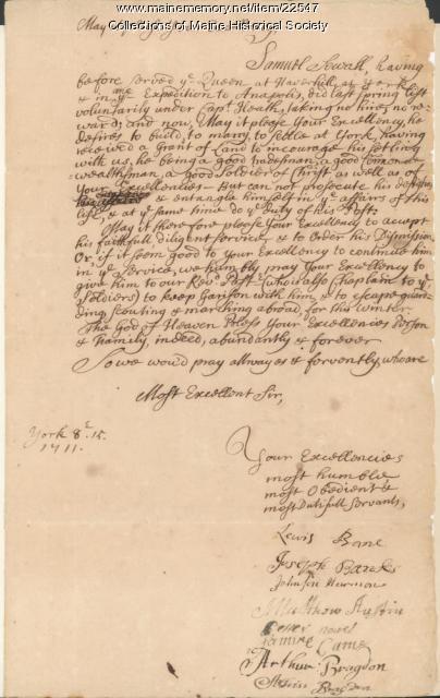 York settlers' petition, 1711