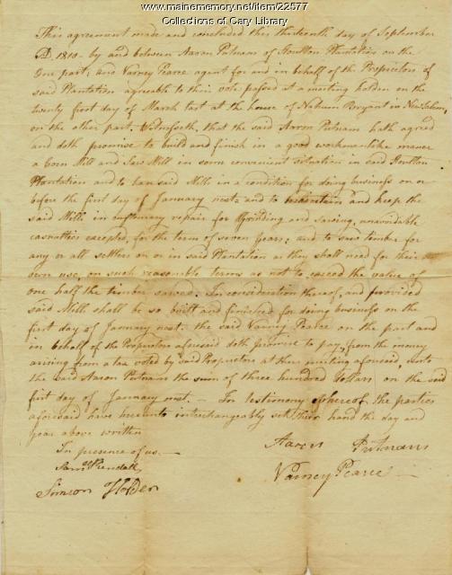 Contract for Aaron Putnam's mills, Houlton, 1810