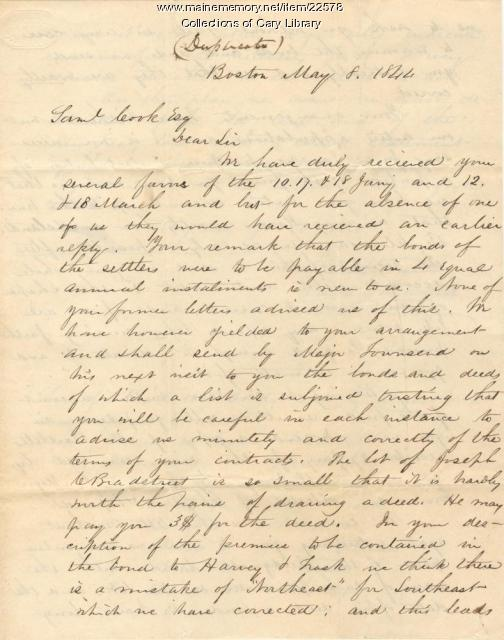 Letter to Samuel Cook, Esq., Houlton, 1844