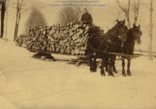 Hauling logs on a bobsled, Aroostook County, ca. 1932