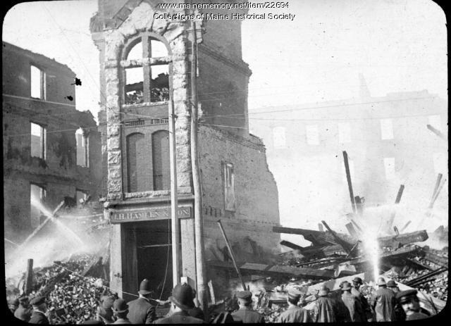 J.H. Hamlen & Son building after fire, Portland, 1901