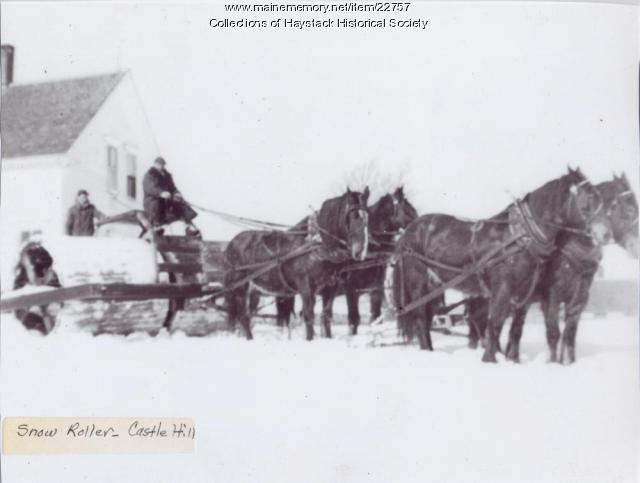 Snow roller, Castle Hill, ca. 1925