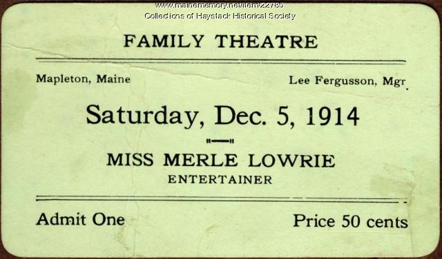 Family Theatre ticket, Mapleton, 1914