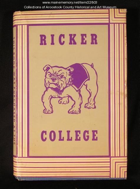 Ricker College book cover, Houlton, ca. 1970