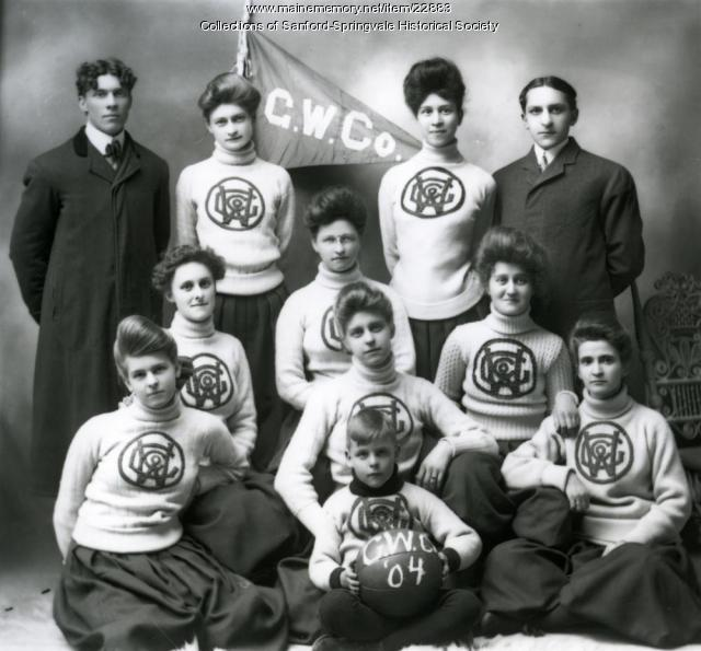 Goodall Worsted Co. Girls' Basketball Team, Sanford, 1904