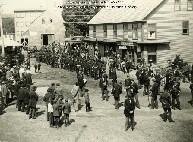 Parade Forming on Bridge Street, Springvale, ca. 1898