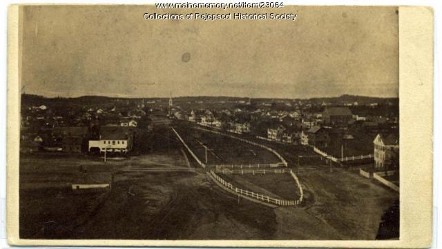 Aerial view of Maine Street, Brunswick, ca. 1860