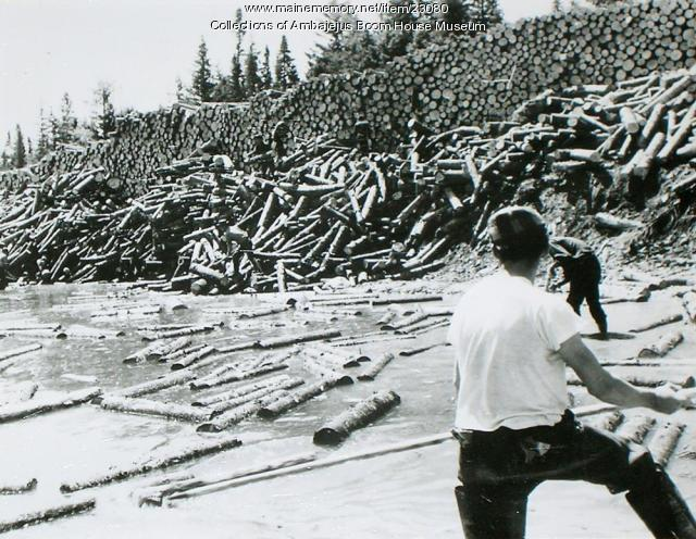 Logs awaiting the log drive, Ambajejus, ca. 1950