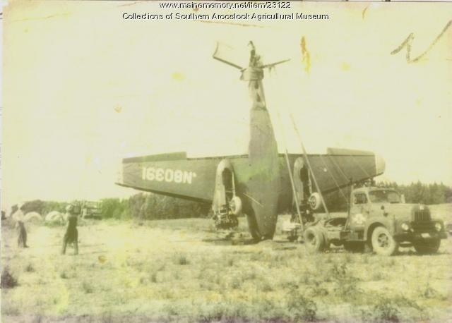Plane crash on Callnan Farm, Houlton, ca. 1945.