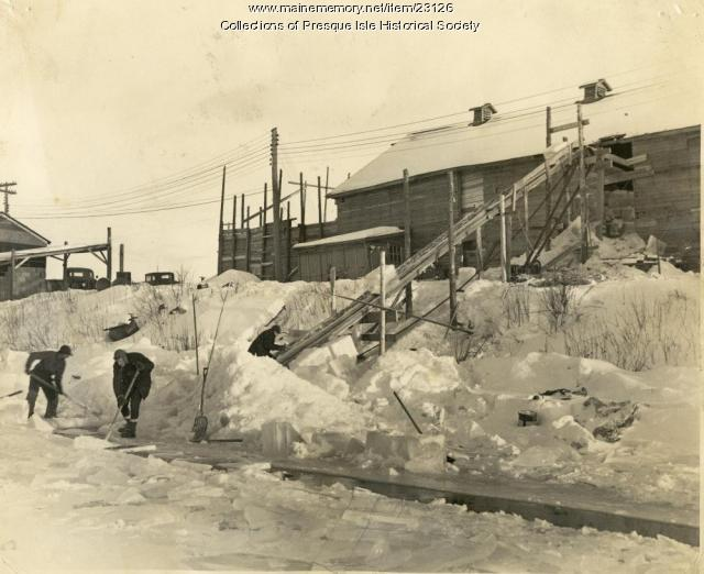 Loading ice, Presque Isle Stream, 1946