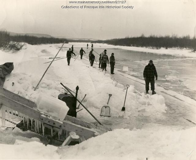 Harvesting ice, Presque Isle Stream, 1966