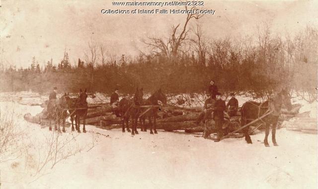 Log hauling, Island Falls, 1896