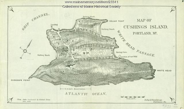 Map of Cushing Island, ca. 1888