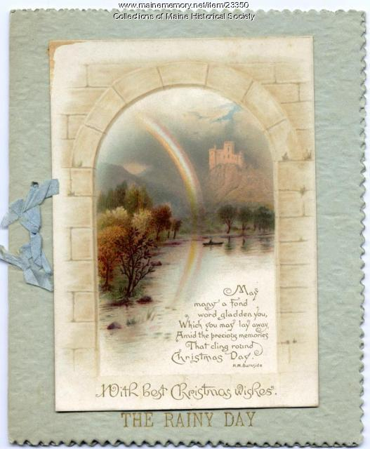 The rainy day poem Christmas greeting card, ca. 1900
