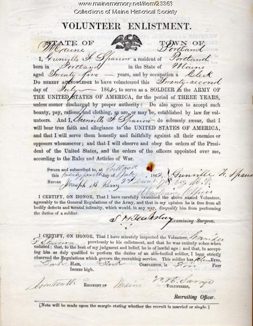 Volunteer enlistment form, Portland, 1862