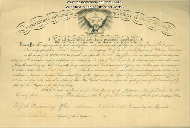 Grenville Sparrow promotion, Virginia, 1862