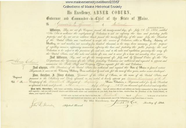 Sparrow promotion certificate, 1863
