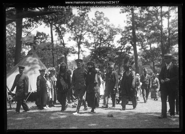 Wabanaki people host visitors during the Maine Centennial, Portland, 1920