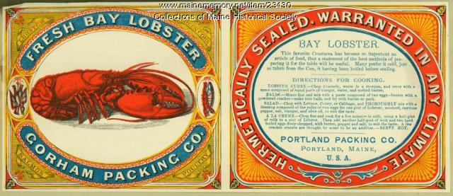 Fresh Bay Lobster Gorham Packing Co. label, ca. 1880