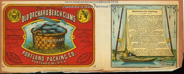 Old Orchard Beach Clams label, ca. 1880