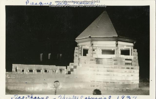 Ice Castle in Presque Isle during Winter Carnival, 1937