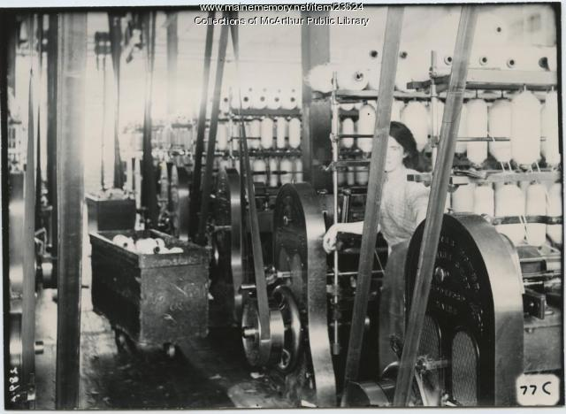 Woman working in Pepperell Mills, Biddeford, 1910
