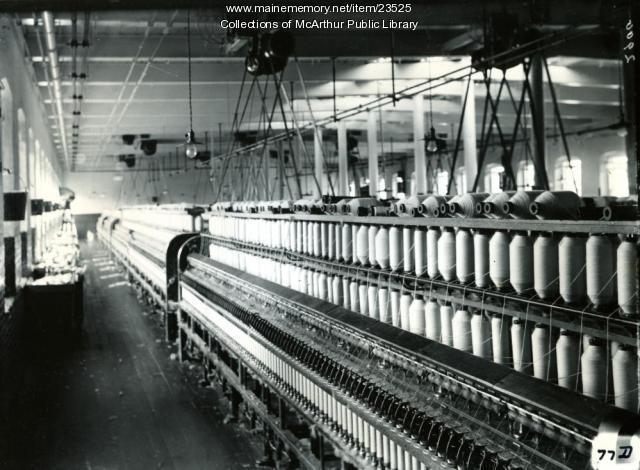 Vacant Spinning Room in Pepperell Mills, Biddeford, 1910