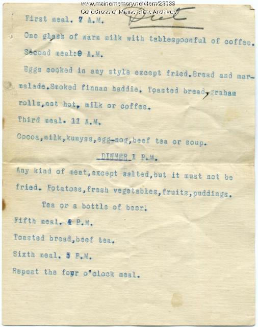 Maine Sanatorium diet, ca. 1906