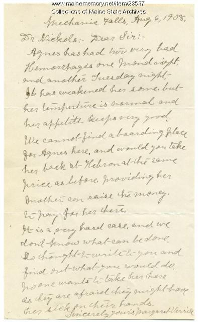 Letter concerning woman with TB, Mechanic Falls, 1908