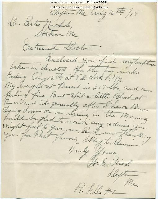 Patient's report on condition, Dexter, 1909
