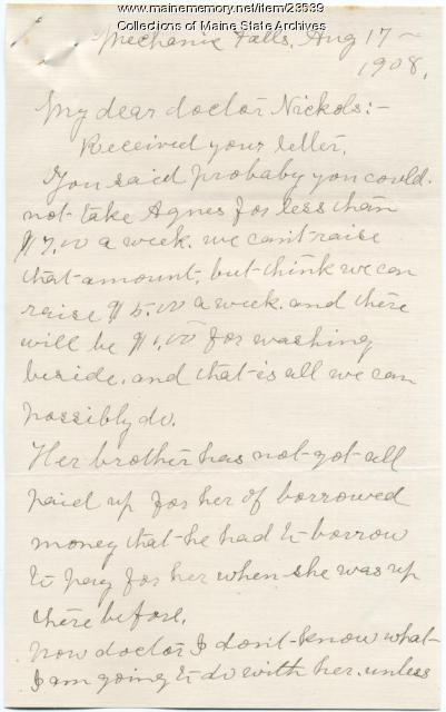 Plea for reduced sanatorium rate, Mechanic Falls, 1908