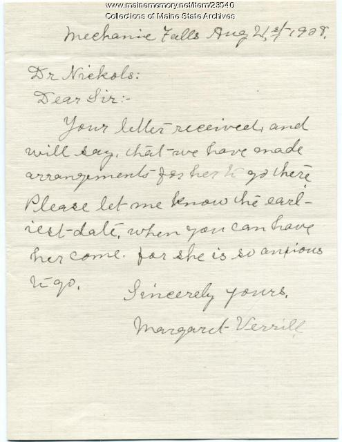 Letter about returning TB patient, 1908