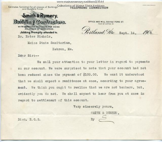 Letter seeking payment to builders, Portland, 1908