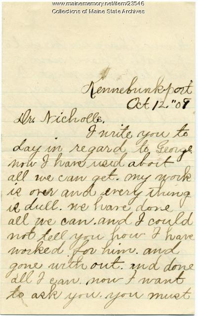 Request for help with Sanatorium costs, 1908