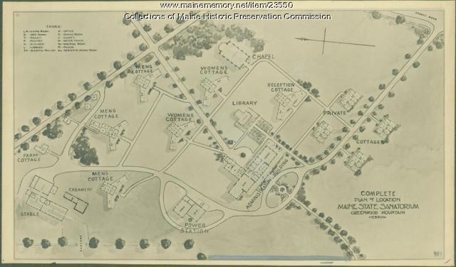 Stevens' plan of Maine State Sanatorium, Hebron, ca. 1908