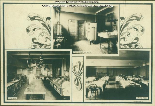 Kitchen facilities, Maine State Sanatorium, Hebron, ca. 1909