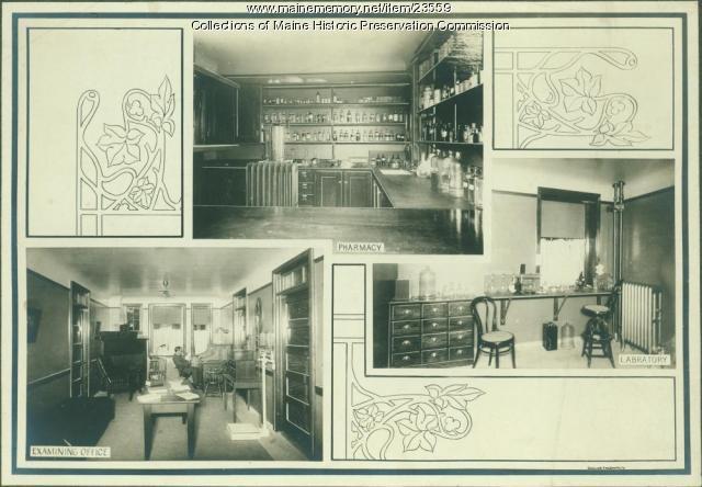 Lab, examining room, Maine State Sanatorium, Hebron, ca. 1909