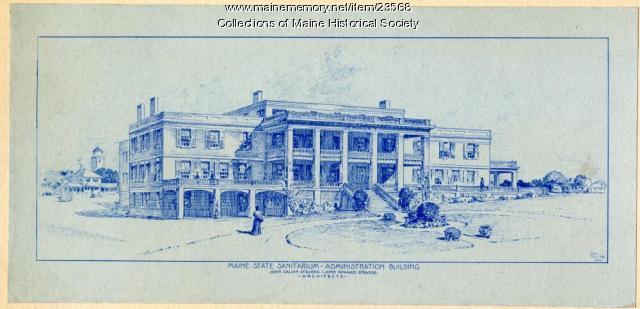 Architect's sketch, Maine Sanatorium, ca. 1904